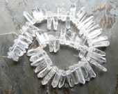 Natural Quartz Crystal Top Drilled Graduated Tumbled Nugget Beads - Points - Sticks, Half Strand - 8 Inches (IND4C058)