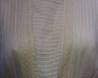 1908 Edwardian Sheer White Silk Dressing Gown