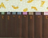 DPN Needle Case, Holds 2mm-7mm double pointed knitting needles. Fox fabric.