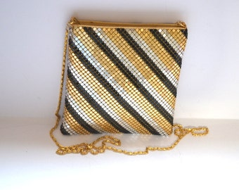Vintage Y & S 70s  metallic mesh bag gold and black evening purse chain Mad Men Cell phone bag cosmetic small purse wedding Mothers Day gift