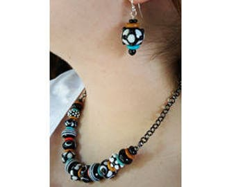 Black and White Lampwork Bead Necklace with Gold and Blue Ceramic Spacers and Earrings Set