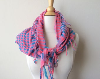 Vintage Pink and Blue Scarf