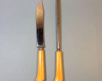 Yellow Bakelite Carving Knife and Sharpener Set; Vintage Silverware