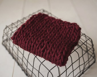 Alpaca wool mini blanket newborn photography prop layers CLARET