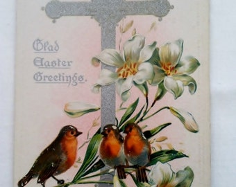 Special Sale Antique Easter Postcard Tucks Robins Cross Lilies Floral
