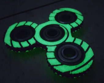 3D Printed *Glow in the Dark* SPIRAL Hypno-Spinner EDC Fidget Toy Knurled Design