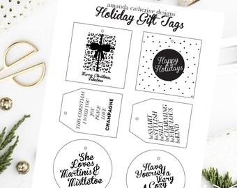 Printable Holiday Gift Tags! Black & White, Set of 6