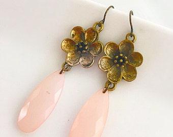 Blush Pink Earrings, Blush Pink and Gold Earrings, Gold Flower Earrings, Romantic Earrings, Whimsical Earrings, Pink Teardrop Earrings