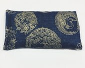 Organic French Lavender Aromatherapy Relaxation Eye Pillow Cotton Metallic Gold Crane Medallion Print Navy Blue Hot Cold Pack