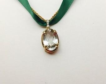 Large lemon Quartz Pendant, vintage Gold over Silver, matching necklace, No. S459