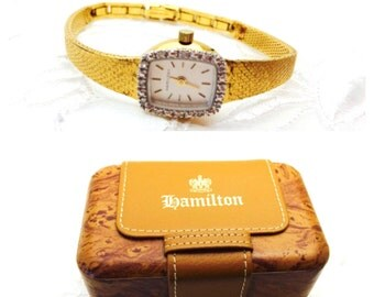 Vintage 10 KGF Hamilton Watch, Ladies Wrist, Diamonds,  Item No. M500
