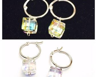 Sterling and Swarovski hoop earrings, handmade, item no, E401