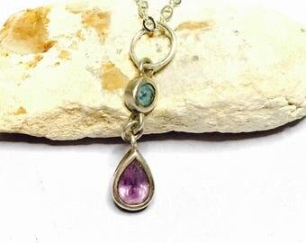 Vintage Amethyst Pendant/Necklace, tear drop, Clearance SALE, Item No. S002c