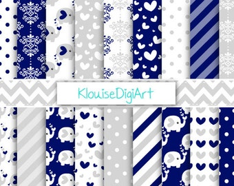 Elephants Navy Blue and Gray Printable Digital Paper with Hearts, Stripes, Damask and Dots for Personal and Small Commercial Use (0238)