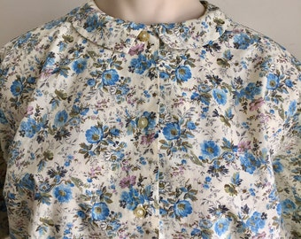 Vintage 1950s Misses' Blue Lavender Floral Print Short Sleeve Blouse 14 16