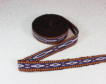 Woven Trim (6 yards), Woven Border, Cotton Ribbon, Grosgrain Ribbon, Dress Border, Border Trim, R159