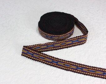 Woven Trim (6 yards), Woven Border, Cotton Ribbon, Grosgrain Ribbon, Dress Border, Border Trim, R174