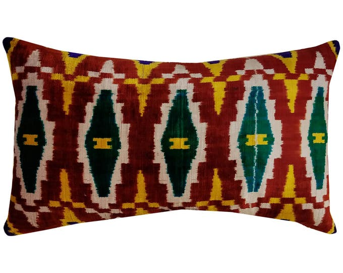 Silk Velvet Ikat Pillow Cover Lp322, Bohemian pillow, Velvet Ikat Pillow, Velvet Pillow