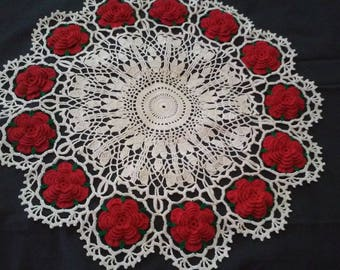 Bright Red American Beauty Rose doily, table topper, centerpiece, tablecloth