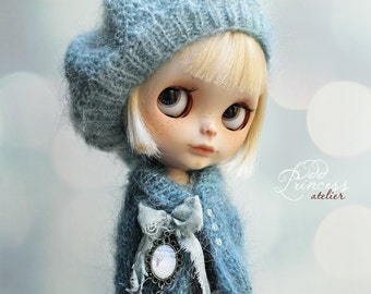 Blythe/Pullip Set WINTER BLUES By Odd Princess Atelier, Jacket, Beret, Hand Knitted Collection