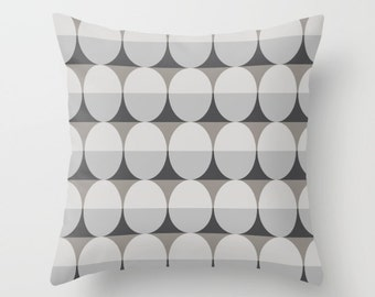 6 colours,  Mid Century Modern Pillow Cover, Faux Down Insert, Charcoal Black, Greige pillow, Ellipse pattern, Indoor or Outdoor cover