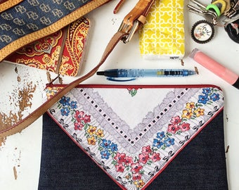 Large Zipper Pouch Boho Makeup Bag Cosmetic Bag Boho Chic Bag Gifts for Her Toiletry Bag Denim Bag Mother's Day Present