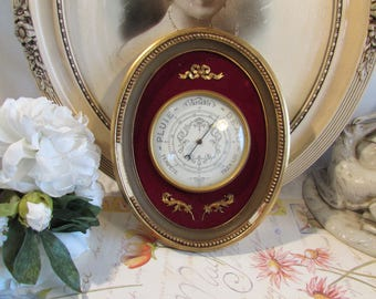 Antique, vintage French gorgeous old barometer.  Red and gold chic!
