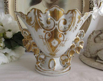 Fabulous very large antique French wedding vase in old Porcelain de Paris.  Superb grandeur chic!