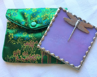 Stained Glass Purse Mirror|Pocket Mirror|Dragonfly|Dragonfly Mirror|Pink/Mauve|Bath & Beauty|Makeup Tool|Handcrafted - Made in USA