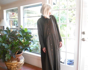 Vintage FLAX by Jeanne Engelhart M brown long linen 1990's grunge loose fit hippie boho oversize: medium, large
