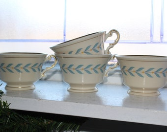 4 Syracuse China Old Ivory Sherwood Coffee Cups Vintage 1950s