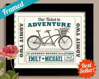 Personalized Wedding Gift for Couple Adventure Awaits Wedding Ticket Anniversary Gift Unique Engagement Gift Tandem Bicycle Newlyweds Gift