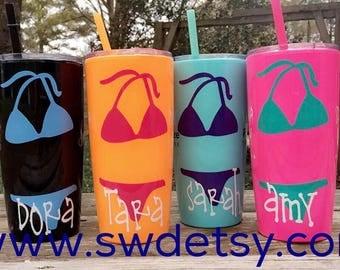 Yeti like Plastic tumblers, 20 oz. personalized tumbler with lid & straw, Bachelorette Tumblers,Wedding Party Gifts, Girls Weekend, Bikini