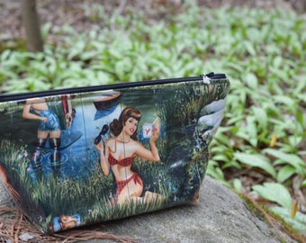 Handmade Au Natural Camping Pinup Large Makeup Bag