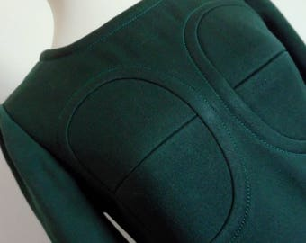 18% OFF PIERRE CARDIN . The Space Crew . Awesome Pure Wool Structured Mini Mod Dress 60s Bottle Green