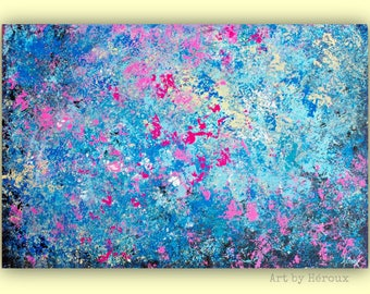 Abstract wall art painting, Large original abstract canvas Painting, horizontal artwork, blue pink wall art, home decor, 24x36 inch