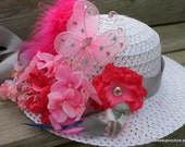 Tea Party Hat - Derby Hat - Easter Bonnet - Child's spring hat - Girls Sun Hat - Girls Cloche - Design to match your dress