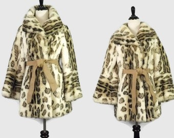 60s Faux Snow Cat Snow Leopard  Faux FurJacket Coat Lyka Fur  Exclusively Priscilla Modes Made in Scotland Tissavel France