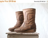 ON SALE Vintage 70's Rustic Bastien Husky Leather Wedge Boots Sz 8.5/9