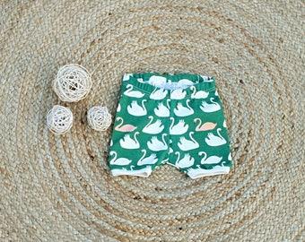 organic baby toddler shorts sizes 000 to 2 green swan shorts
