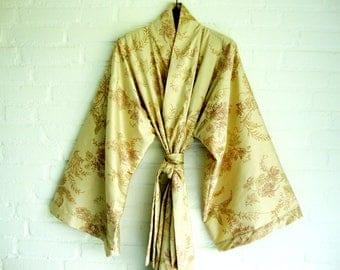 100% Silk Kimono Style Robe Silk Yellow Gold Botanic Elegant Long