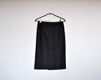 Vintage Grey Wool A Line Pencil Faux Wrap Midi Skirt
