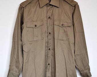 Vintage Cotton Button Up Long Sleeve Army Green Military Dress Shirt