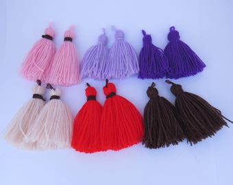 Tassel, pink tassel, pale purple tassel,  purple Tassel, pom pom, DIY craft supplies, Tassels for jewelry, dark purple tassel 2 pieces.