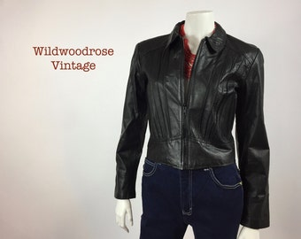 1980's Ladies Fitted Black Leather Jacket - Cropped Leather Jacket - Biker Jacket - Rocker Style - Styleman International -  Ladies S to M