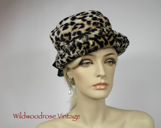 Vintage 1960's Leopard Faux Fur Tilt Topper Hat - Animal Print Fun Fur - 60's Retro Old Hollywood Glamour - Brimmed Pillbox  -