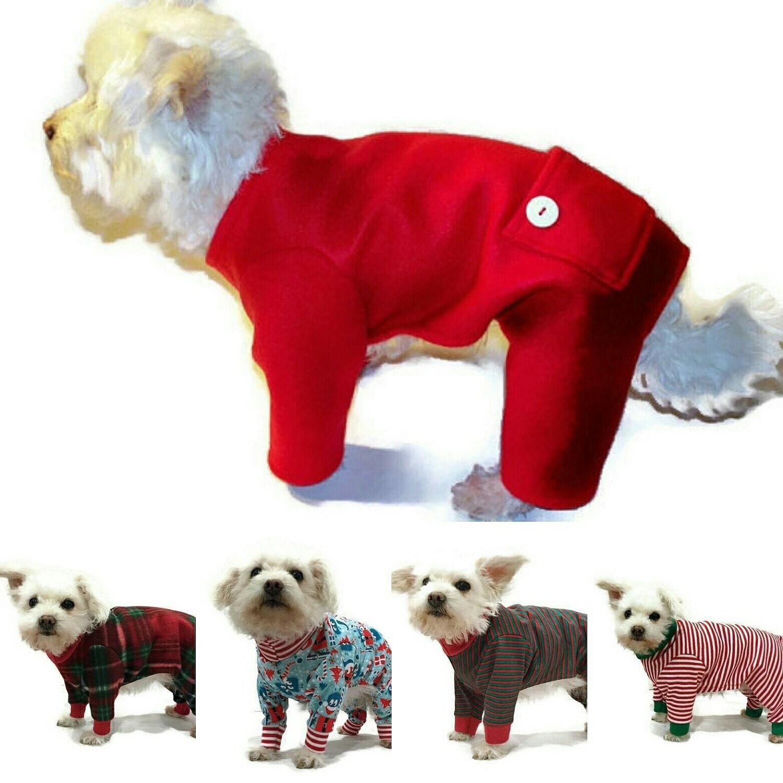 christmas dog pajamas or cat pajamas red and white stripe