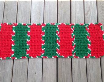 Crochet Christmas table runner, red, green, white