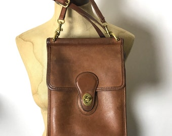 Vintage Coach Bag - Saddle British Tan Leather Crossbody Satchel