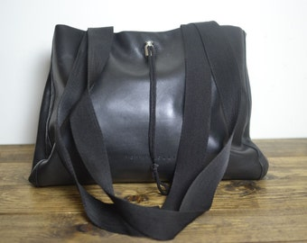 Vintage Leather Minimalist Bag - Luxe Shoulder Bag - Toggle Closure